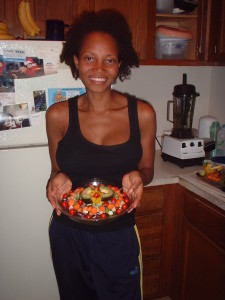 Here's Karmyn after making my Savory Veggie Stew and making it look pretty.